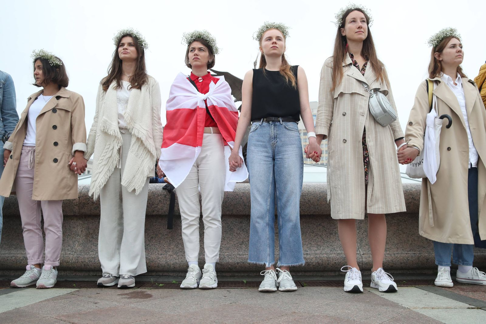 MINSK, BELARUS - AUGUST 23, 2020: Women form a chain of solidarity in Independence Square. Since the announcement of th
