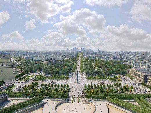 Place de Concorde und Champs-Élysées (Zeichnung): Mehr Natur, mehr Kultur