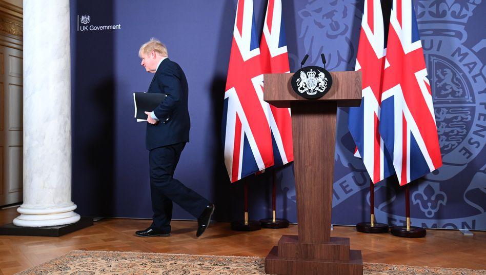 Boris Johnson nach der Pressekonferenz zum Brexit-Abkommen mit der EU am 24. Dezember 2020