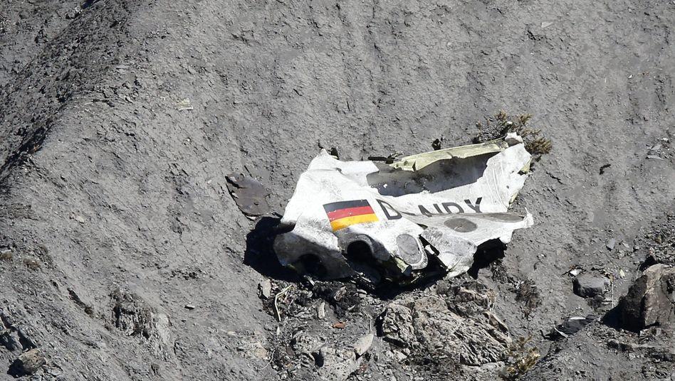 Trümmerteil der Germanwings-Maschine