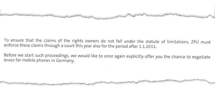 Ausriss aus dem ZPÜ-Schreiben: Ankündigung von Gerichtsprozessen