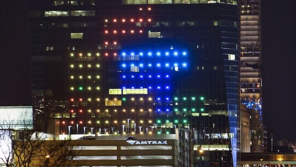 """Fassaden-""""Tetris"""" auf dem Cira Centre in Philadelphia: Blöcke über drei Stockwerke"""