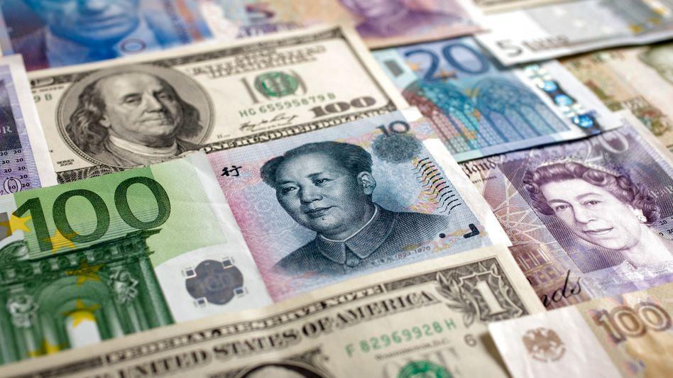 Banknoten verschiedener Währungen: Aufholjagd durch China