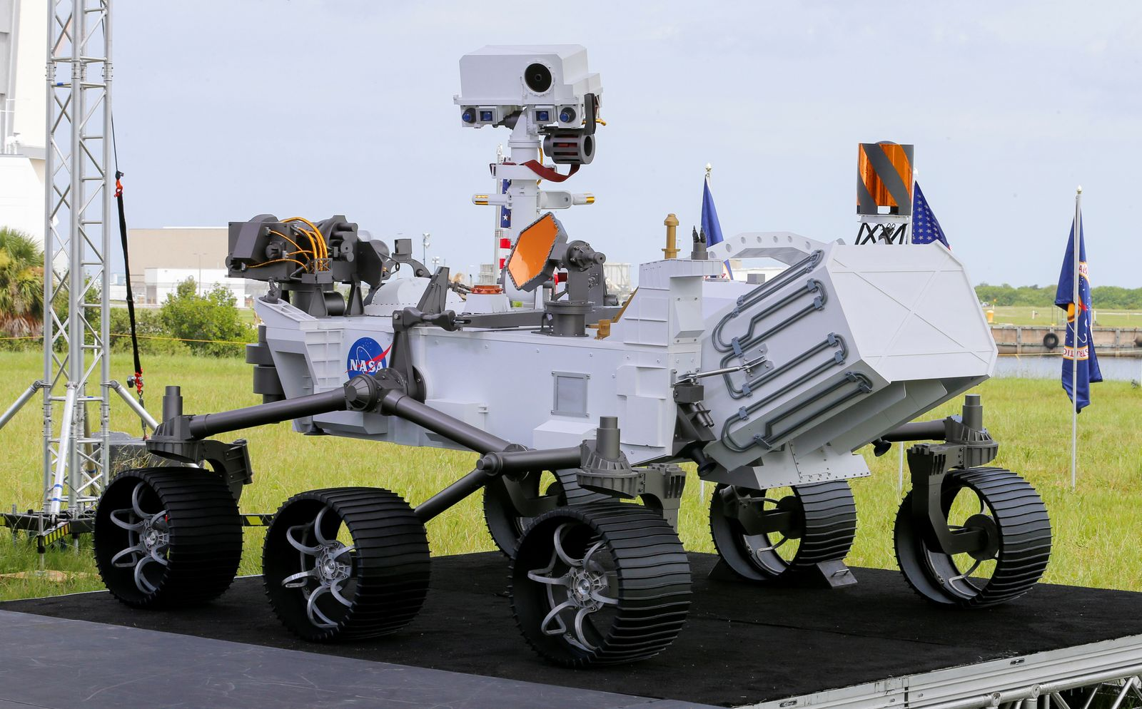 A replica of the Mars 2020 Perseverance Rover is shown during a press conference, at the Kennedy Space Center in Cape Canaveral