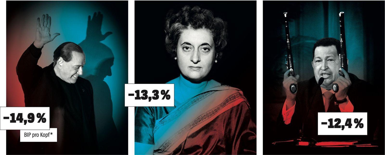 Silvio Berlusconi / Indira Gandhi / Hugo Chávez