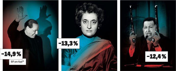 Silvio Berlusconi:Italien, Amtszeiten 1994-95, 2001-06, 2008–11Indira Gandhi, gest. 1984: Indien, Amtszeiten 1966-77, 1980–84Hugo Chávez, gest. 2013:Venezuela, Amtszeit 1999-2013