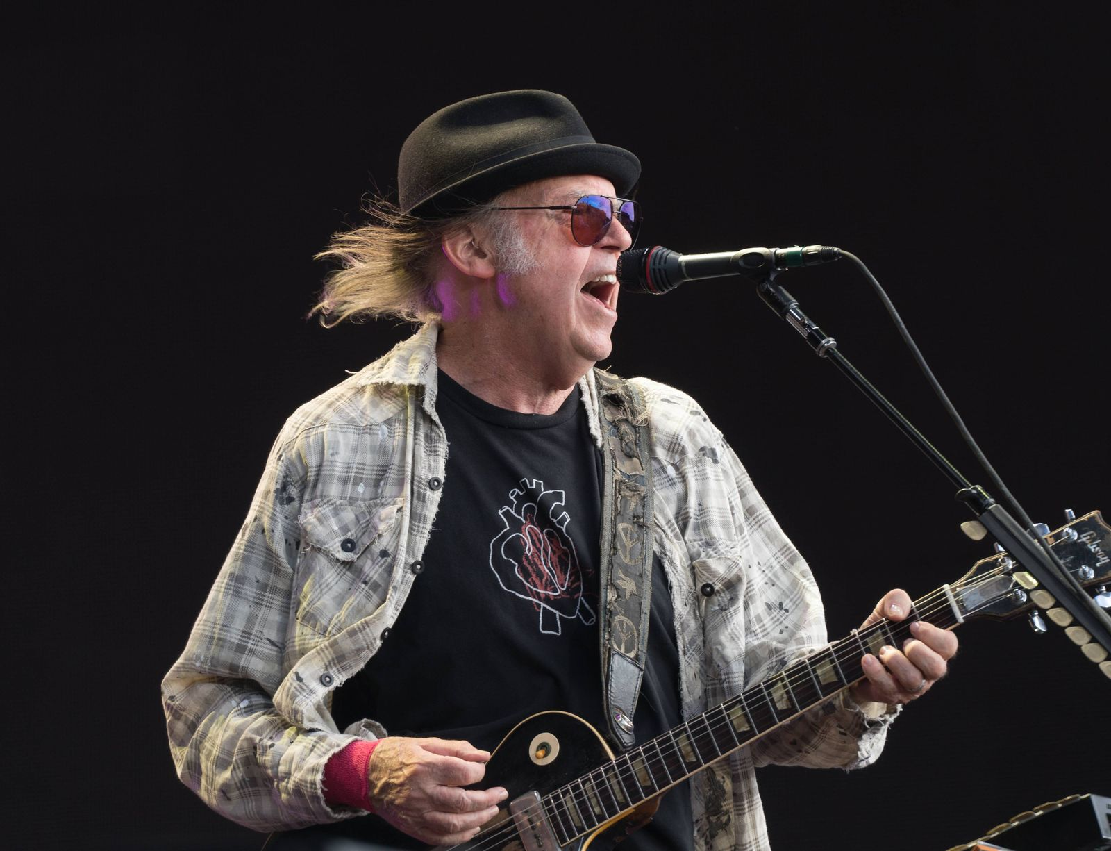 Neil Young Hyde Park London Neil Young performing live on stage in Hyde Park in London Photo da
