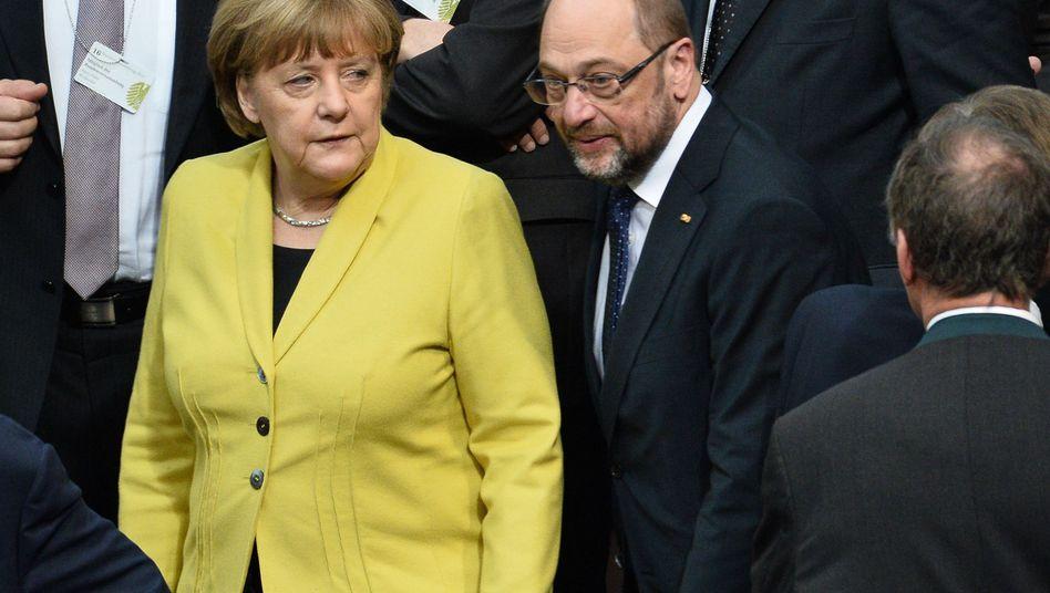 Bundeskanzlerin Merkel (CDU) und SPD-Kanzlerkandidat Schulz (Schulz)
