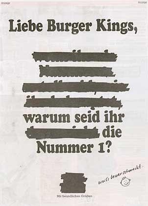 """Harte Bandagen: Burger-King-Anzeige in der aktuellen Ausgabe von """"Bild am Sonntag""""."""