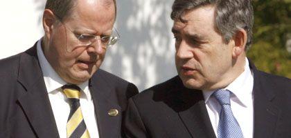 Finanzminister Steinbrück, Premier Brown: Offensichtliche Differenzen