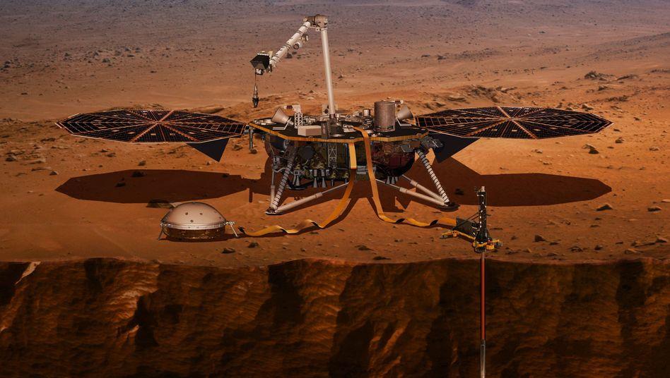 """Grafische Darstellung des Landeroboters """"InSight"""" auf dem Mars, das Messgerät """"HP3"""" ist rechts zu sehen"""
