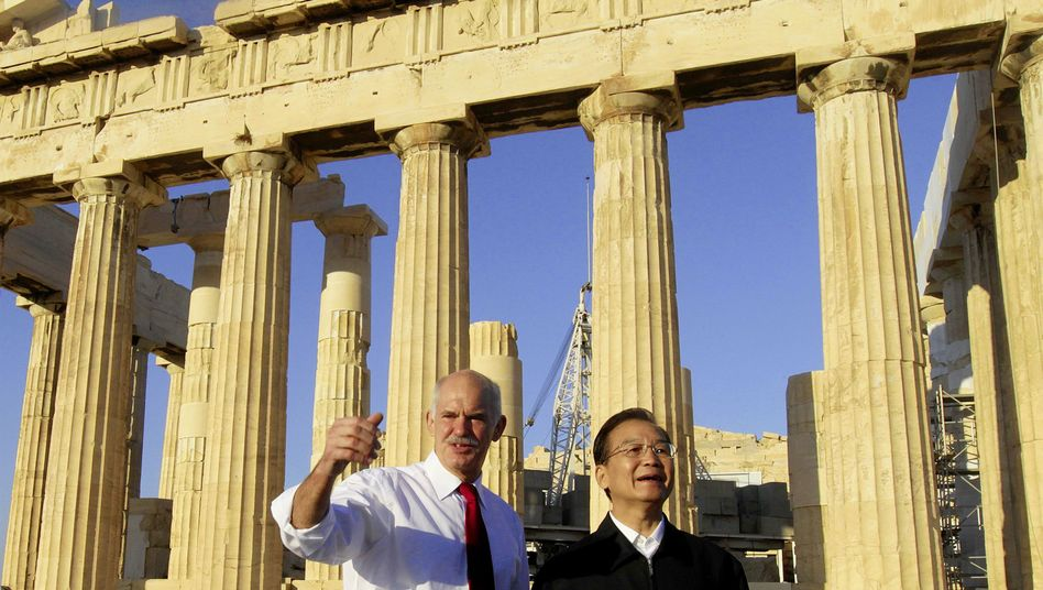 Chinese Prime Minister Wen Jiabao (R) during a visit to the Acropolis with Greek Prime Minister George Papandreou in October.