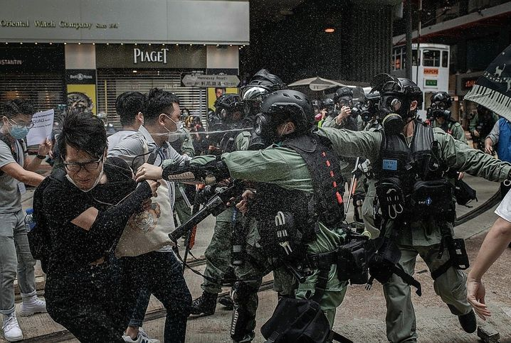 """Protesters and police in Hong Kong on May 24: """"There is a politics of fear and terror dispersing."""""""