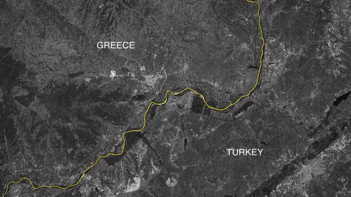 Satellitenaufnahme der Grenzregion am Evros