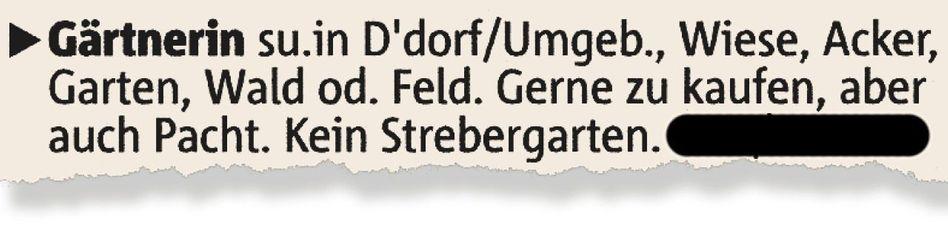 Kleinanzeige in der »Rheinischen Post«