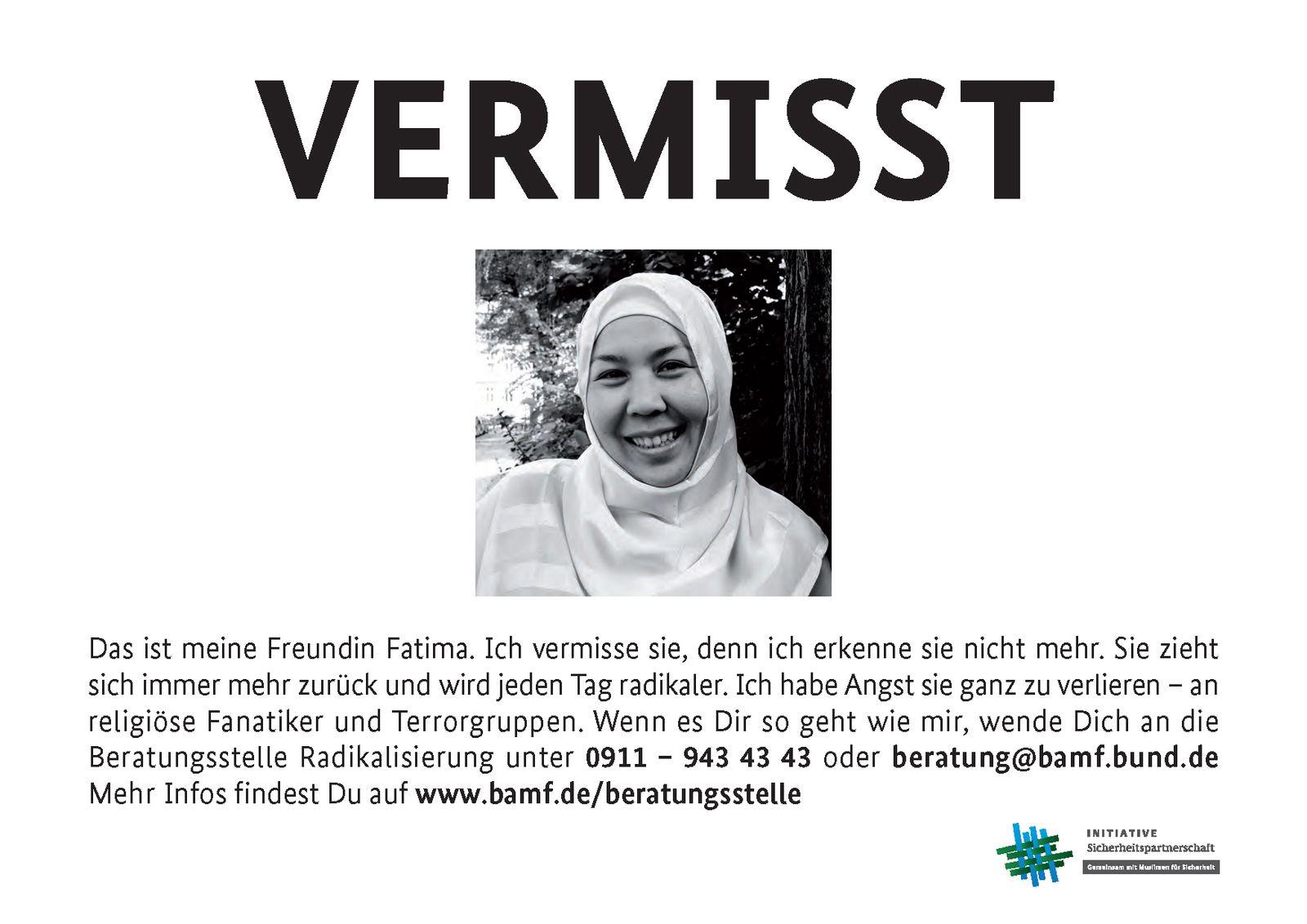 EINMALIGE VERWENDUNG Plakat Kampagne / Vermisst