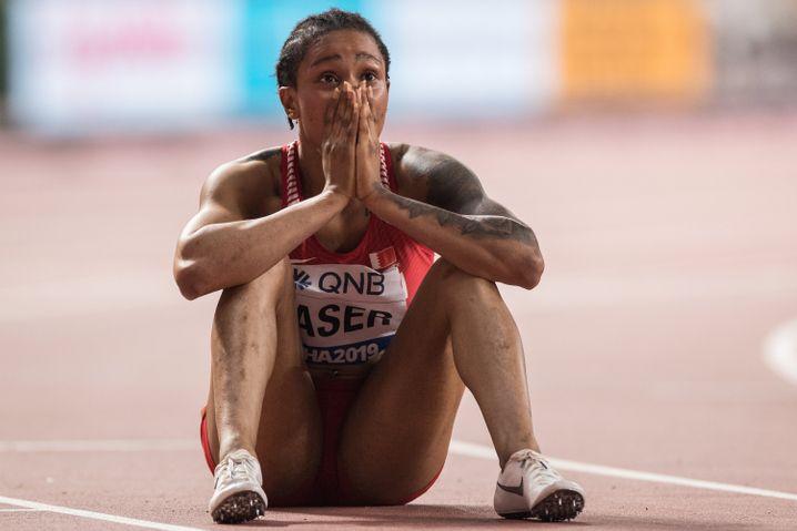 Salwa Eid Naser, bei ihrem WM-Goldgewinn in Doha 2019