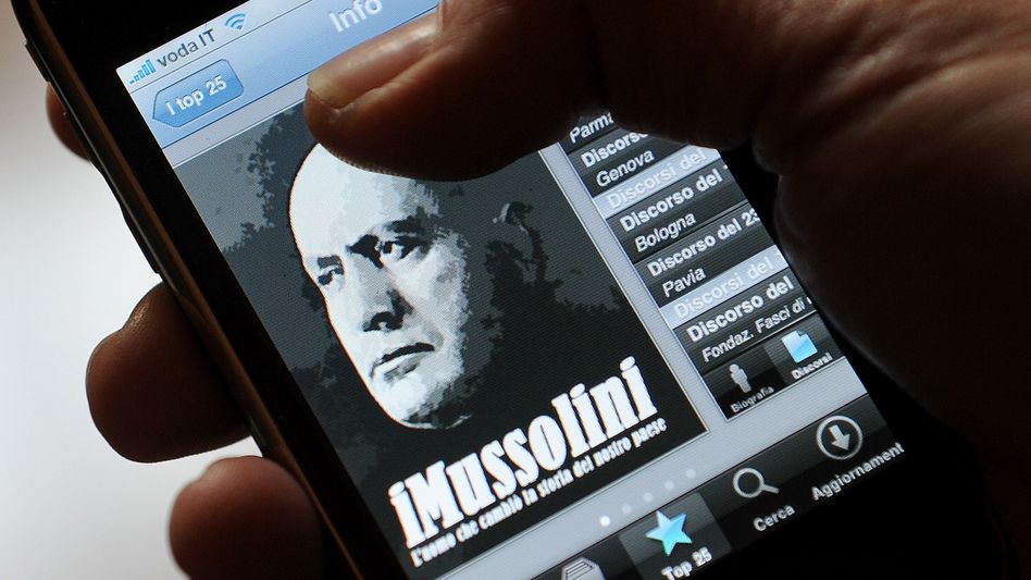 The iMussolini app has become a top seller in Italy.