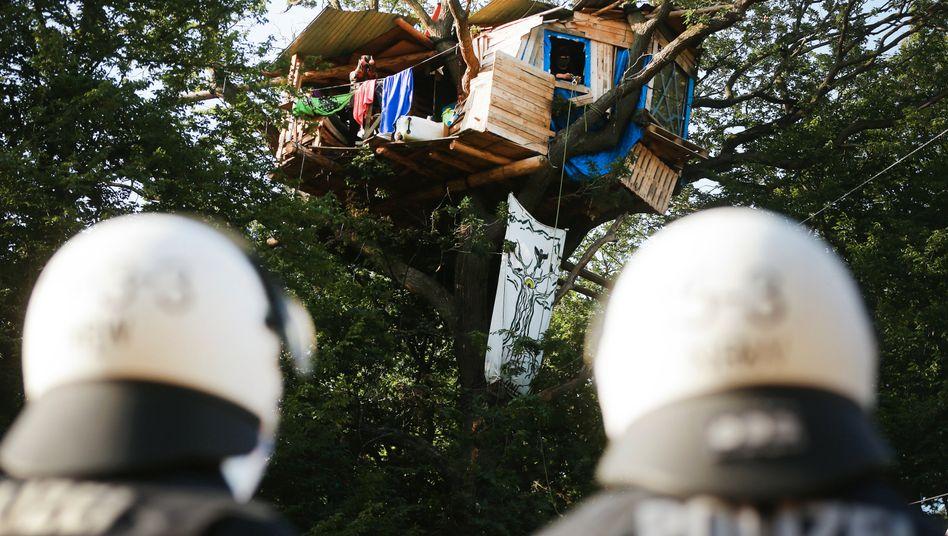 Polizisten am Fuße eines von Aktivisten besetzen Baums 2020