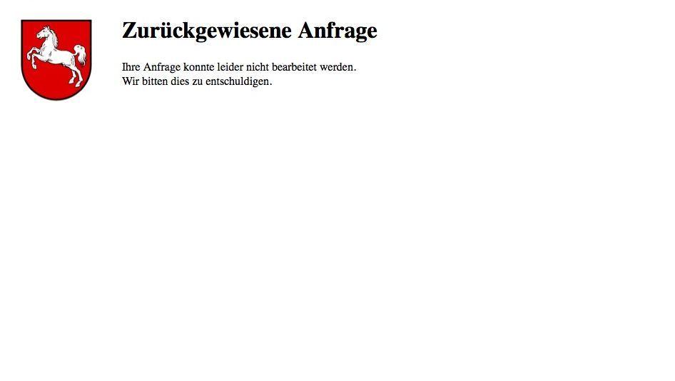 Fehlermeldung auf niedersachsen.de: Anonyme Surfer müssen draußen bleiben