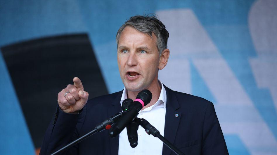Björn Höcke bei einer Demonstration am 1. Mai in Erfurt