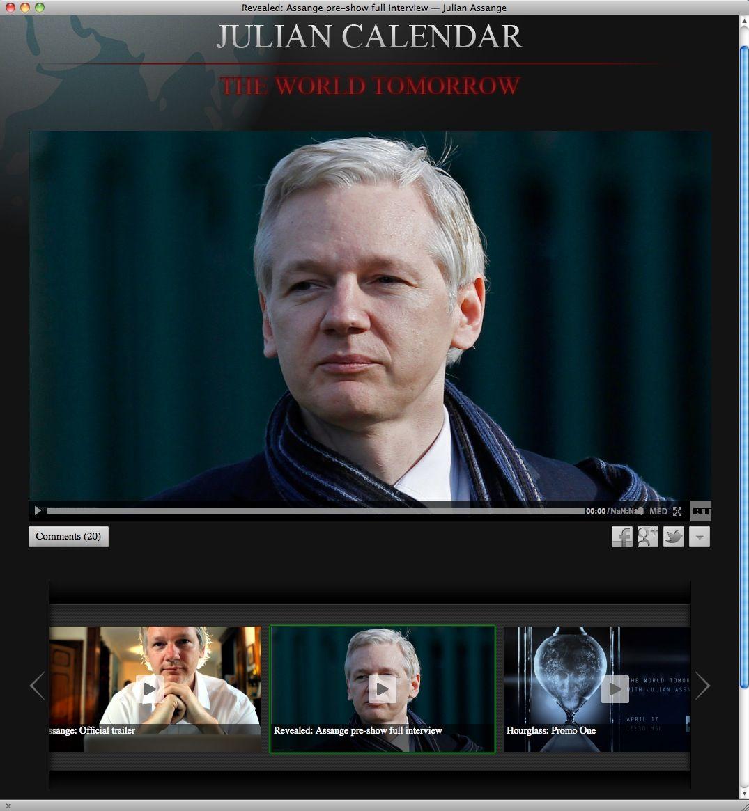 NUR ALS ZITAT Screenshot The World Tommorow / Assange