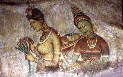 Fresken am Sigiriya-Felsen: Die Festung ist seit 1982 Weltkulturerbe