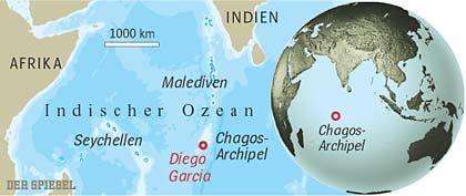 Liegt zwischen Mauritius und Indien: Die kleine Insel Diego Garcia ist Teil des Chagos-Archipels