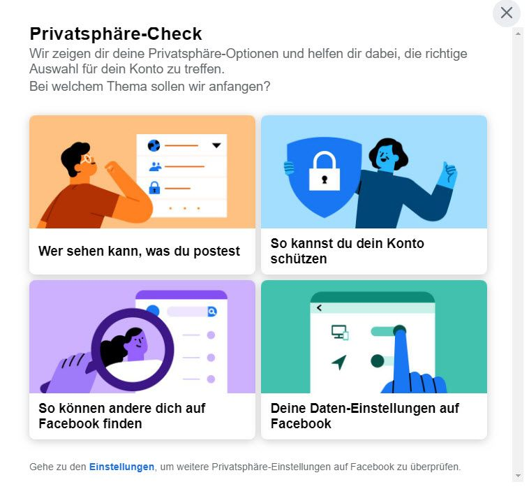 Facebook Privatsphäre Check - Screenshot