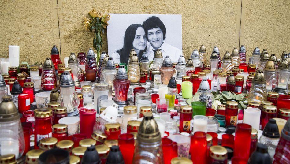Gedenkstätte für Jan Kuciak und seine Verlobte Martina in Bratislawa