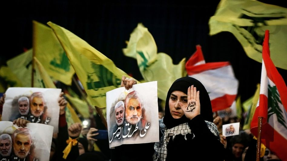 Teilnehmer einer Hisbollah-Kundgebung im Libanon, Januar 2020