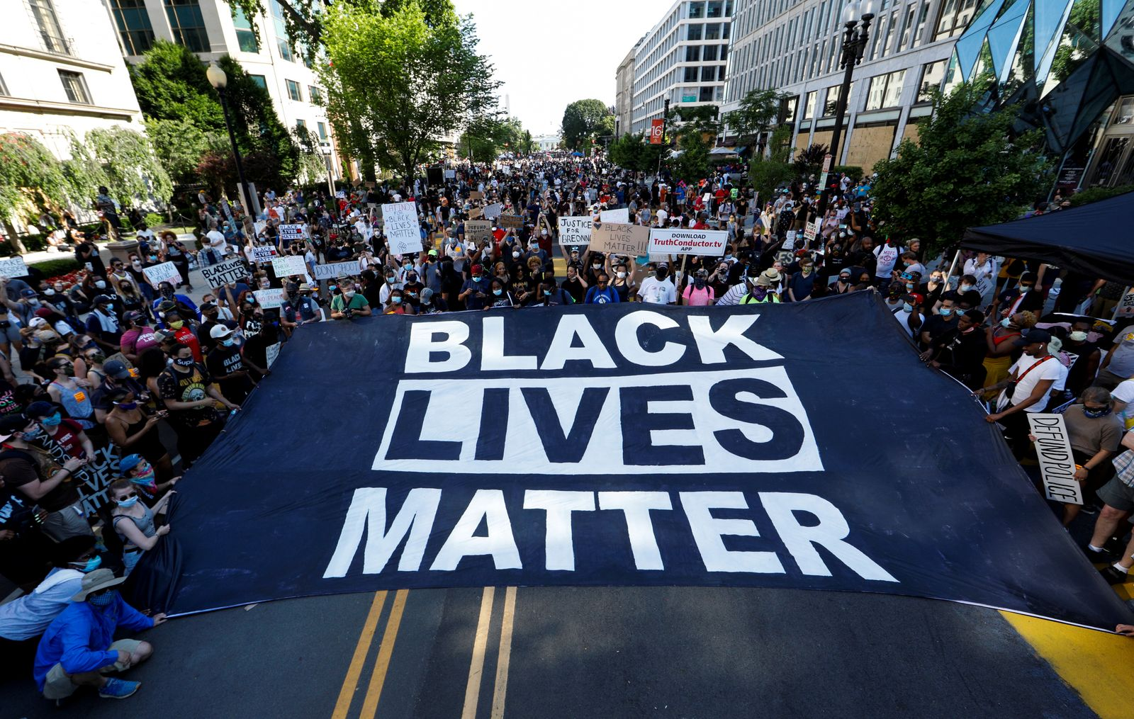 Protest against racial inequality in the aftermath of the death in Minneapolis police custody of George Floyd, in Washington