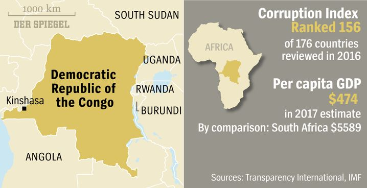 Map of the Democratic Republic of the Congo and region