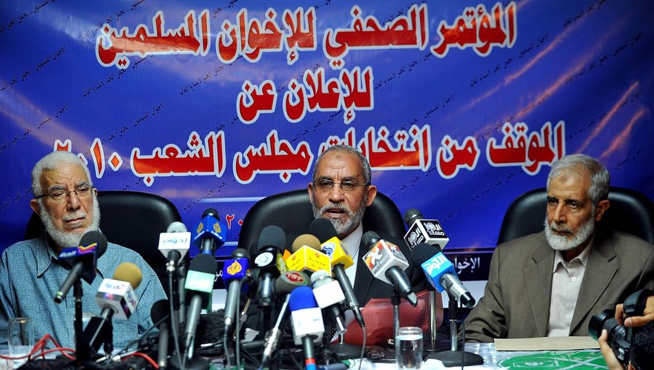 A Muslim Brotherhood press conference last October. The group is demanding that Egyptian President Hosni Mubarak step down.