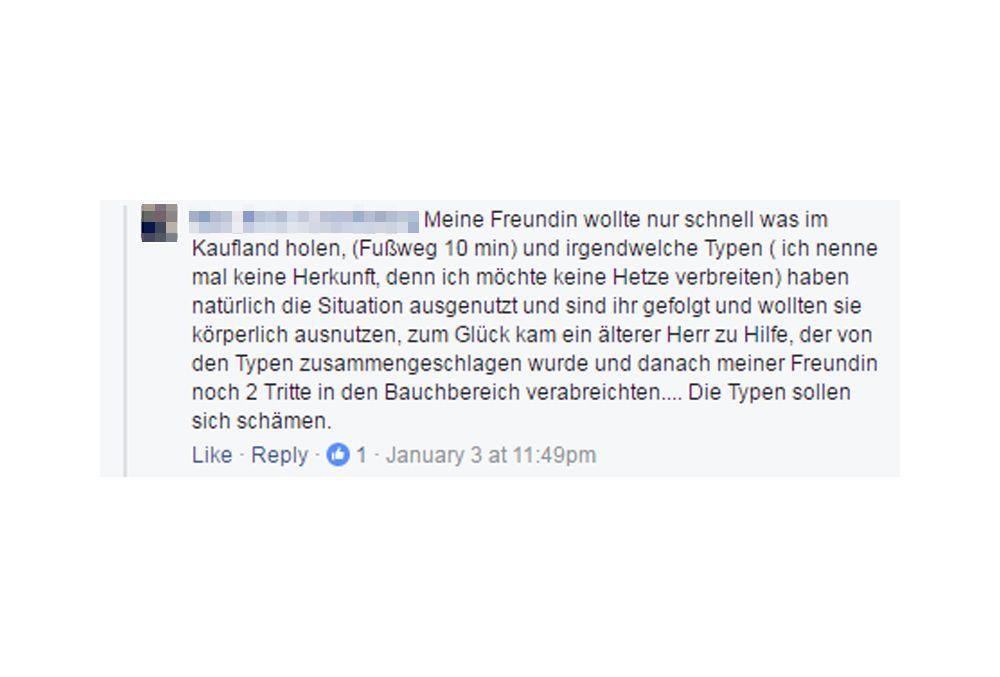 EINMALIGE VERWENDUNG Fake News/ Angebliche Vergewaltigung Erfurt SCREENSHOT