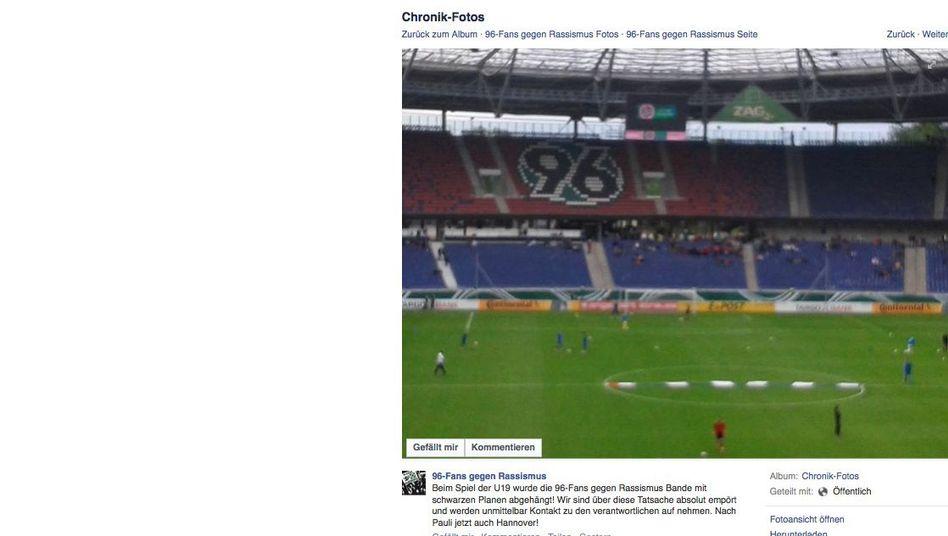 Facebook-Eintrag: Überhängtes Banner in Hannover