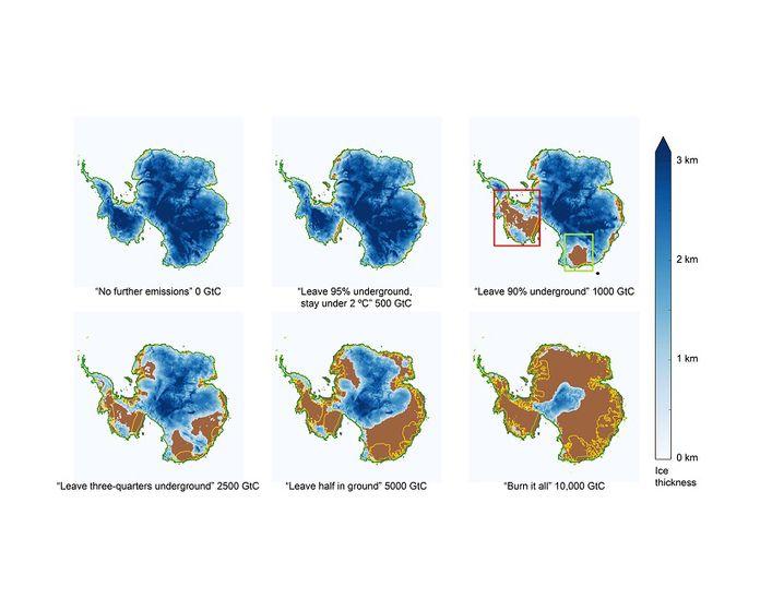 Unterschiedliche Szenarien: Die Grafik zeigt, wie stark der Eispanzer der Antarktis (blau) der neuen Studie zufolge zurückgehen könnte, je nachdem, wie viel Treibhausgase die Menschheit noch ausstößt.