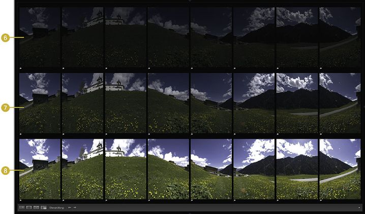 Rohmaterial: 24 Aufnahmen für ein zylindrisches HDR-Panorama, sortiert in Lightroom