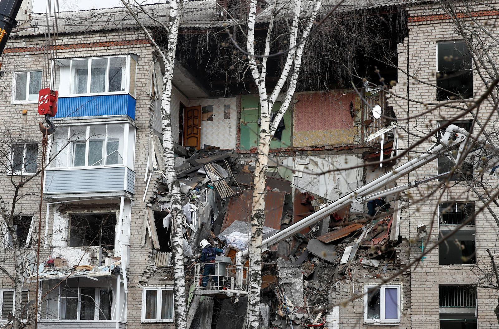 A view shows a damaged apartment block following an apparent gas explosion in Orekhovo-Zuyevo