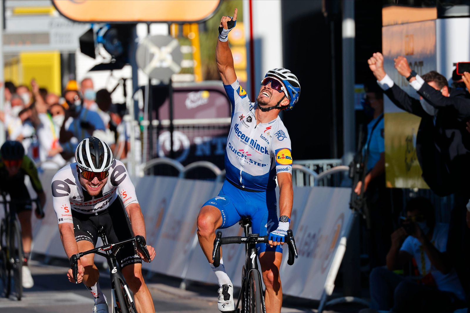NICE, FRANCE - AUGUST 30 : ALAPHILIPPE Julian (FRA) of DECEUNINCK - QUICK - STEP celebrates the victory during stage 2 o