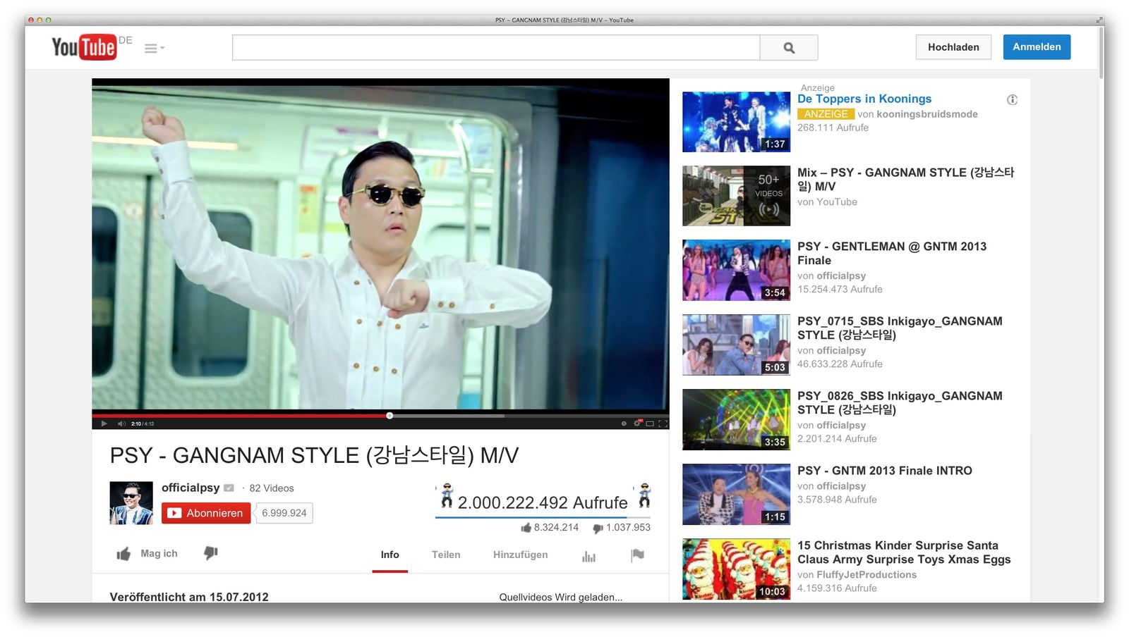 EINMALIGE VERWENDUNG NUR ALS ZITAT Screenshot/ Gangnam-Style/ Psy