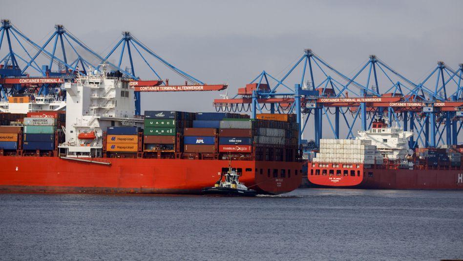 Containerfrachter am Altenwerder-Terminal in Hamburg