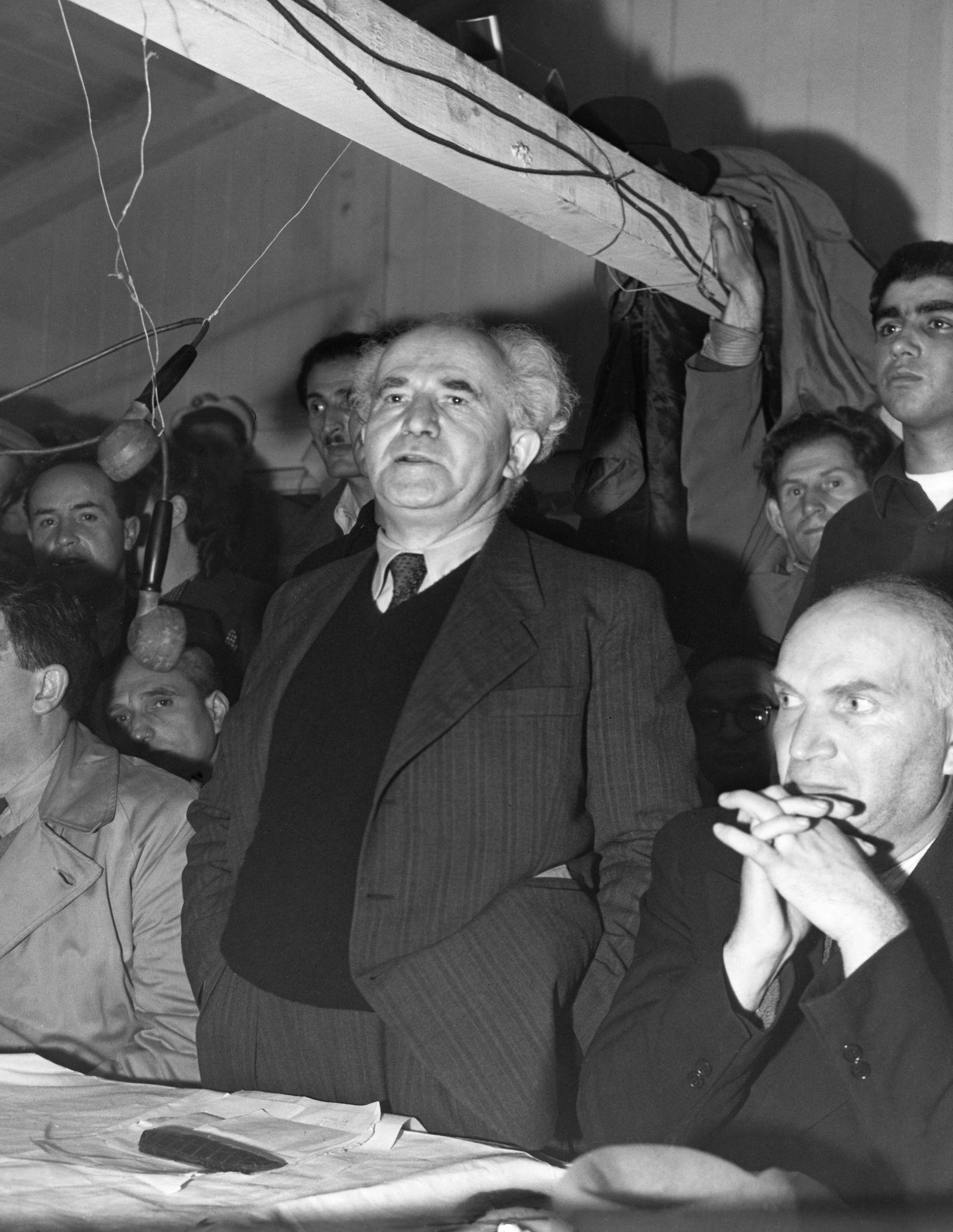Ben Gurion, David - Politiker, Israel/ spricht in Frankfurt vor jued. Verschleppten