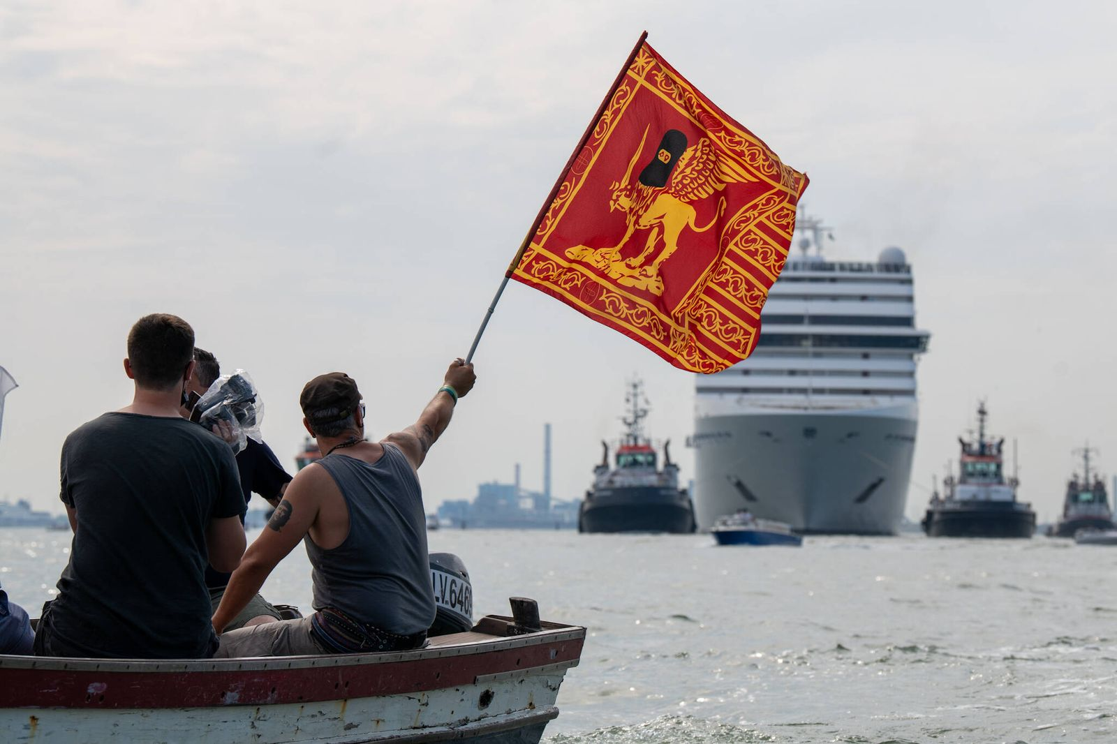 Protest Against Giant Cruise Ships The MSC ship Orchestra passing on the Giudecca canal in Venice, in Venice, Italy, on