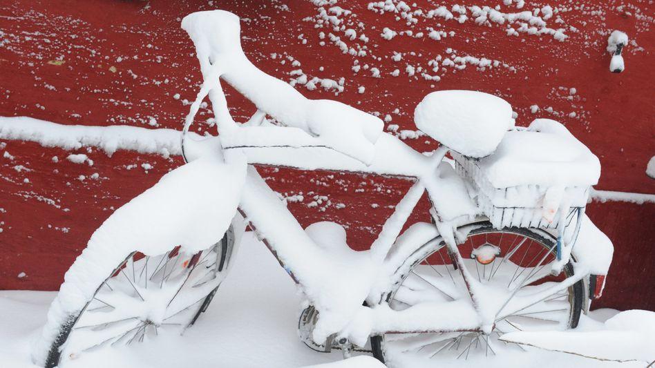Fahrrad im Schnee: Auf so einem Sattel will doch niemand sitzen