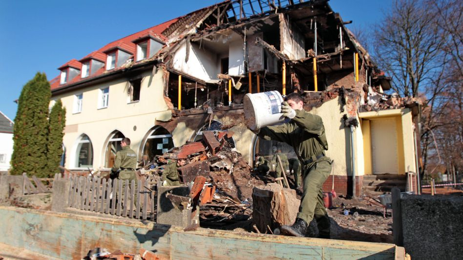 Police are searching the rubble of the house in Zwickau (Nov. 9 photo).