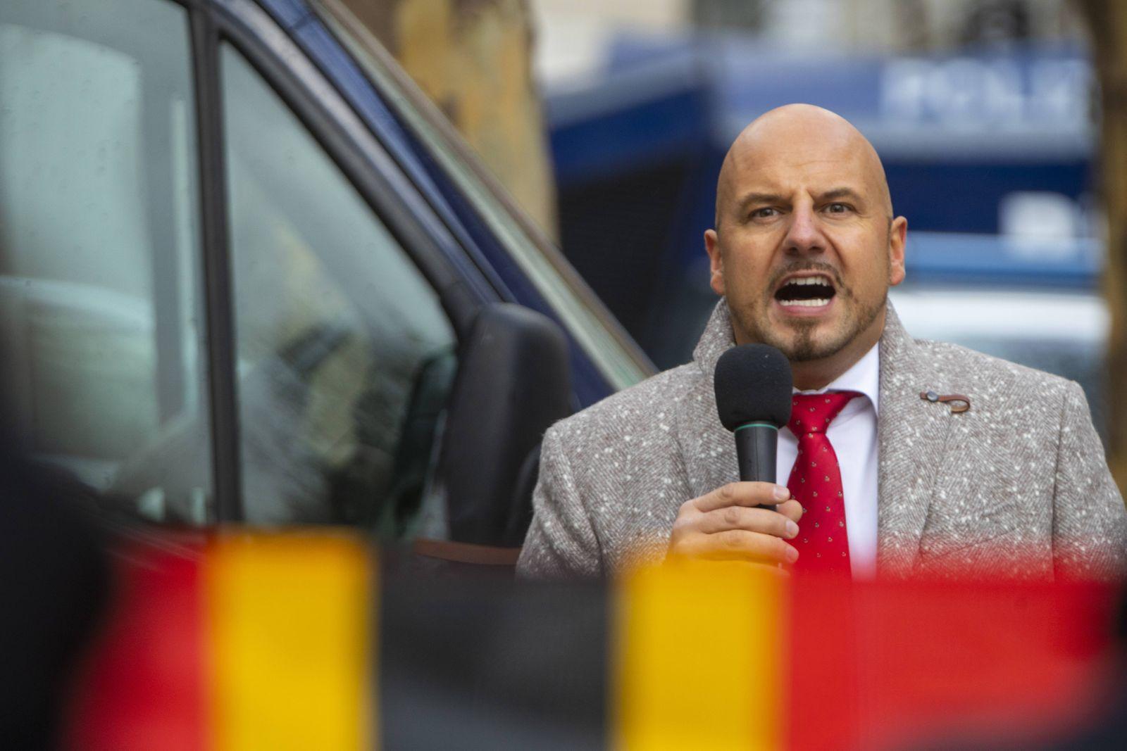 DEU, Deutschland, Stuttgart, 08.12.2018 - Stefan Räpple, AfD-Politiker, auf einer von ihm organisierten Kundegebung in