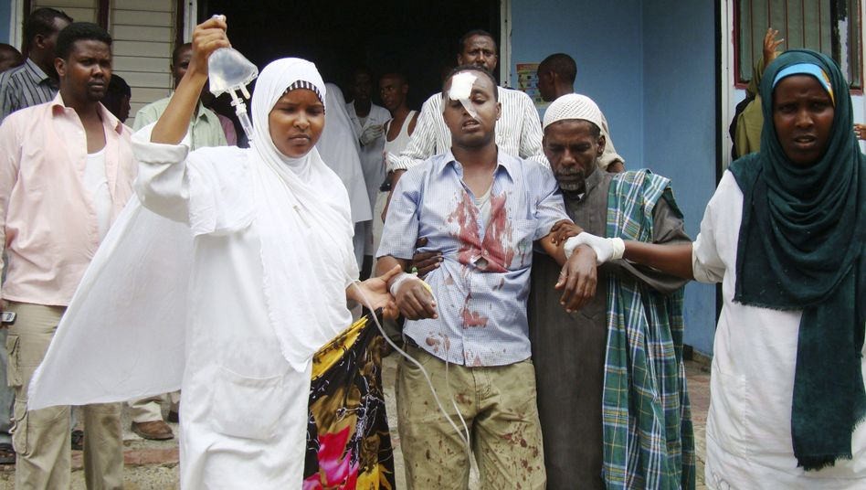 A Somali journalist wounded in the explosion at Hotel Shamo in Mogadishu Dec. 3, 2009.