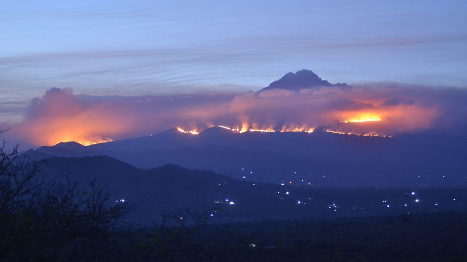 Flammen auf Afrikas höchstem Berg