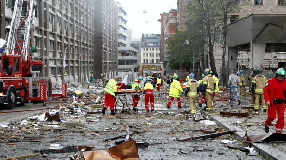 Innenstadt von Oslo nach dem Bombenanschlag: Ein Massaker als ein ideologisches Fanal